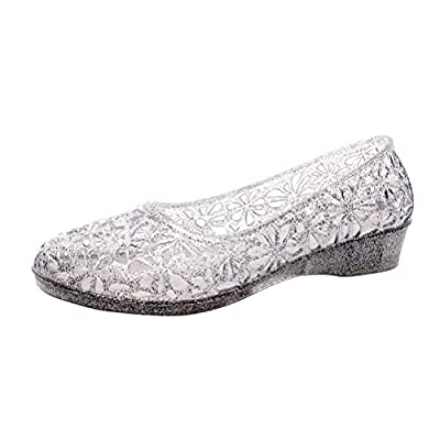 OMGard Womens Hollow Glitter Crystal Ballet Flat Jelly Shoes Sandals | Shoes