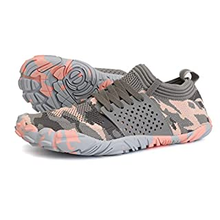 JOOMRA Minimalist Trail Running Shoes Women Wide Camping Athletic Hiking Trekking Toes Gym Workout Cross Trainer Sneakers Lightweight Footwear Grey Pink Size 9.5