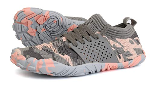 JOOMRA Minimalist Trail Running Shoes Women Wide Camping Athletic Hiking Trekking 5 Toes FiveFingers Gym Workout Cross Trainer Sneakers Lightweight Footwear Grey Pink Size 9.5