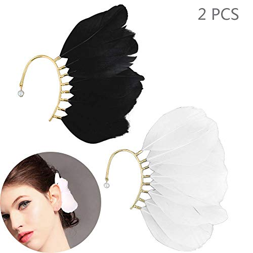 Daimay Big Feather Ear Cuff Non Piercing Earring Wrap Single Ear Cuffs Charm for Women - 2PCS - Black and White -