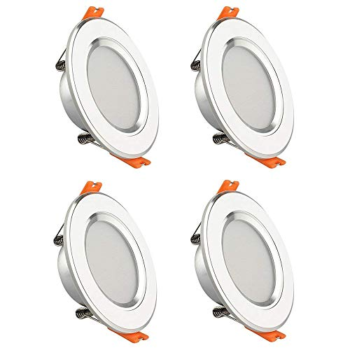 GALYGG 3 Color Changing LED Downlight, Recessed Lighting Trim Conversion Kit, 3 Inch Ceiling Fixture Light, 280LM 3000K-6500K 4W ( 25W Equivalent ) for Under Cabinet Kitchen Bedroom, White - 4 Pack by GALYGG