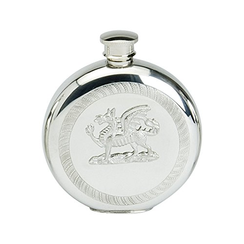 (Edwin Blyde & Co Spirit Flask - Traditional Round Shape Stamped Circular Knurled Design with Dragon Mount, 6 oz, Pewter, 14 x 10 x 4 cm)