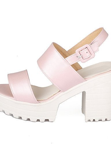 ShangYi Womens Shoes Chunky Heel Peep Toe / Platform Sandals Party & Evening / Dress / Casual Blue / Pink / White Pink