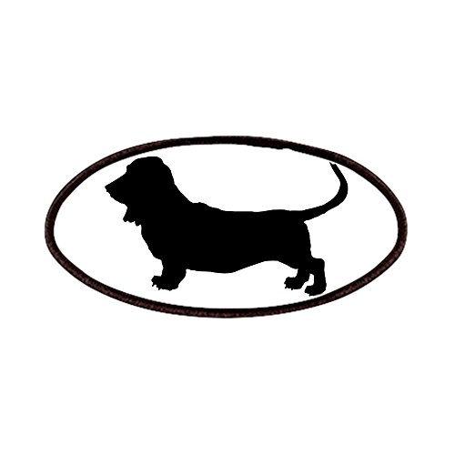 CafePress - Basset Hound Silhouette Patches - Patch, 4x2in Printed Novelty Applique Patch