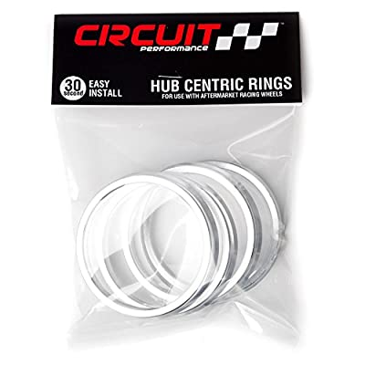 Circuit Performance 73.1mm OD to 57.1mm ID Silver Aluminum Hub Centric Rings: Automotive