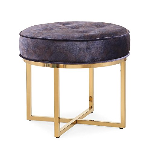 Tov Furniture The Layla Collection Modern Style Velvet Upholstered Round Living Room Ottoman, Peacock