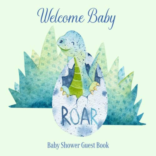Baby Shower Guest Book Welcome Baby: Dinosaur Theme Decorations | Cute Little Dino Sign in Guestbook Keepsake with Address, Baby Predictions, Advice for Parents, Wishes, Photo & Gift Log (Cute Invitation Cards)