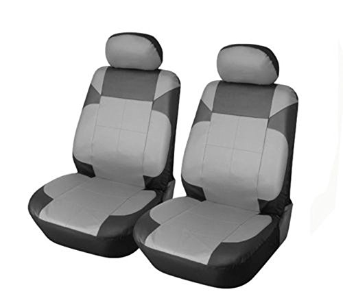 OPT Brand. Vinyl Leather 4PC SET Toyota Corolla Prius Highlander Camry 4Runner Land Cruiser Avalon Yaris RAV4 Prius C V 2 Front Car Auto Seat Covers, Black/Gray Color. 77153-BK/GY