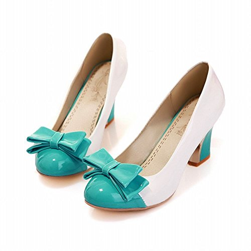Latasa Womens Dolce Tacco Medio Scarpe A Tacchi Alti Scarpe Blu + Bianco