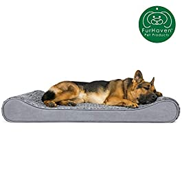 Furhaven Pet Dog Bed | Therapeutic Ergonomic Luxe Lounger Cradle Mattress Pet Bed w/ Removable Cover for Dogs & Cats – Available in Multiple Colors & Styles