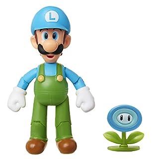 "SUPER MARIO Nintendo Collectible Ice Luigi 4"" Poseable Articulated Action Figure"