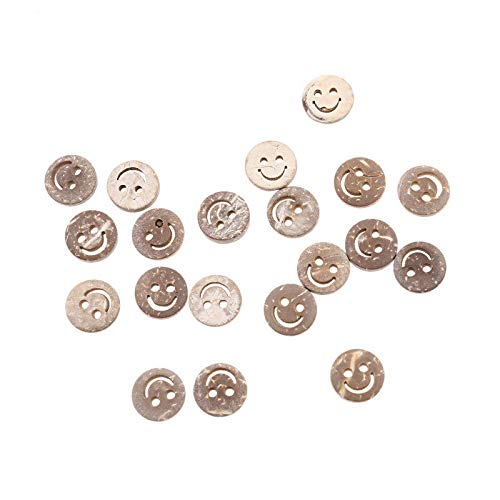 MOPOLIS 20 Pcs Coconut Shell Bottons Smile Face Cherry Blossoms DIY Sewing Crafts Set   Model - Smile Face ()