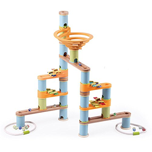 Fat Brain Toys 127 pc + Music Bamboo Builder Marble Run ()