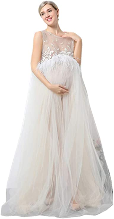 Pregnant Women Long Dresses White Lace Maternity Gown Photography Props Clothing