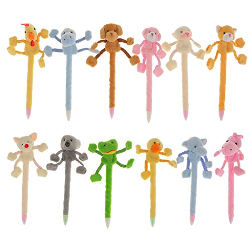 New 12Pcs Plush Animal Pens Plush Pens New Toys Stuffed Plushie Puzzled Animal