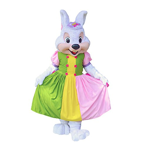 KF Easter Bunny Girl Mascot Party Costume Adult White Rabbit Halloween Cosplay -
