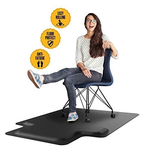 Office Chair Mat with Anti Fatigue Cushioned Foam - Chair Mat for Harwood Floor with Foot Rest Under Desk - 2 in 1 Chairmat Standing Desk Anti-Fatigue Comfort Mat ()