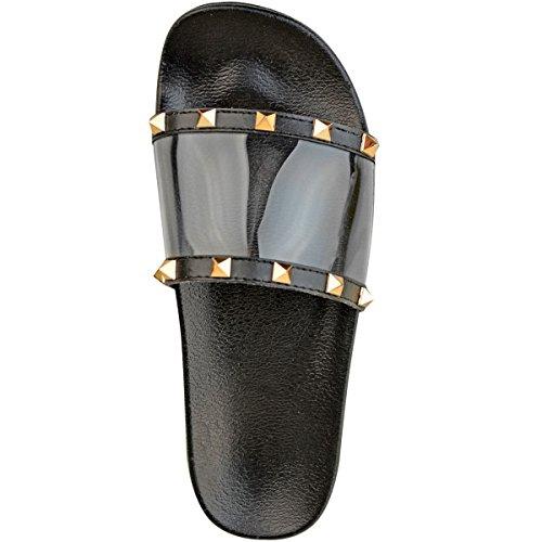 Fashion Enfiler plexiglas Sandales À été clous Femme Plates Dorés Style Tong Pour Clou Noir Thirsty rYIqrw4