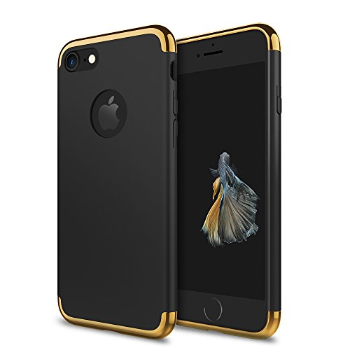Phone 7 Case, idutou 3-in-1 Sleek Thin and Slim Fit Hard Shell Cover Case with 3 Detachable Parts for Apple iPhone 7 Only, Chrome Gold and Matte Black (4.7 Inches) 2016 (Black/Gold)