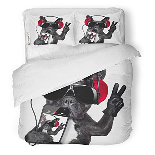 Semtomn Decor Duvet Cover Set Twin Size Cool Dj Dog Listening to Music Earphones and Player 3 Piece Brushed Microfiber Fabric Print Bedding Set Cover -