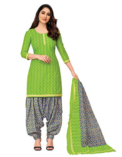 Miraan Women Cotton Unstitched Dress Material (SGPRI711, Green, Free Size)
