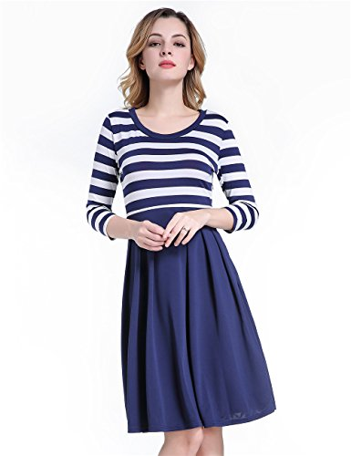 green-mango-womens-vintage-3-4-sleeve-navy-style-stripes-evening-party-casual-swing-dressnavy-bluem