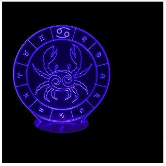 3D Led Night Light Cancer Forma Usb Constellation Chart Accesorios De Iluminación Letra Niños Cumpleaños Romántico Regalo Lámpara De Mesa: Amazon.es: ...