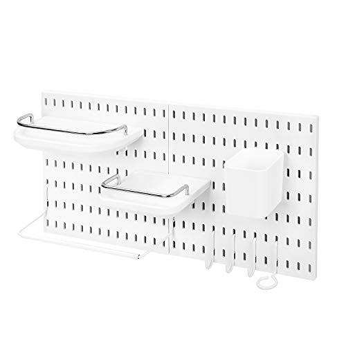 DekorFix 10Piece Pegboard Organizer Wall Mounted Plastic Wall Storage Shelves Waterproof White Color Supplies Parts Craft Organizer (DFB-002W) ()