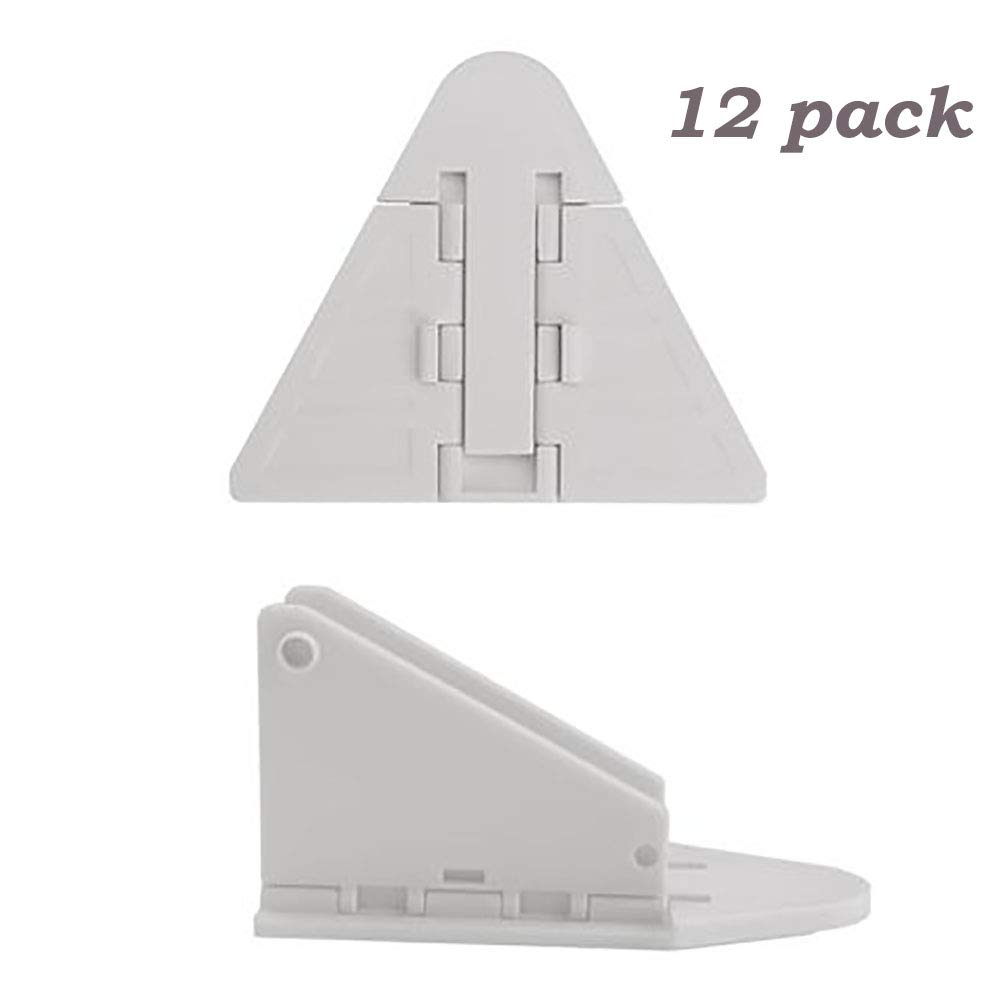 12 Packs Sliding Door Window Closet Lock - Baby Kids Children Pets Security Safe Sliding Locks with 3M Adhesive Tape, White