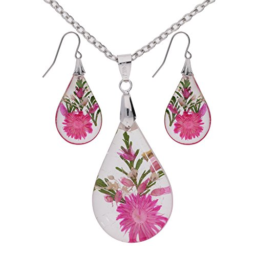 - The Ambient Collection Real Dry Pressed Flower Resin Earrings and Necklace Set - Oval Shape - Pink (One Flower) Handmade in Thailand Unique Design for Woman Girls Jewellery