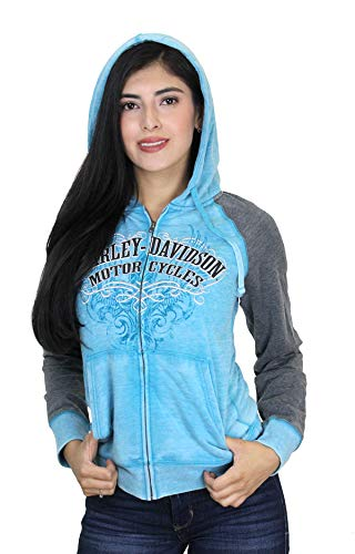 Harley-Davidson Womens Light Wings Burnout Wash Full Zip Teal Hoodie (Small)