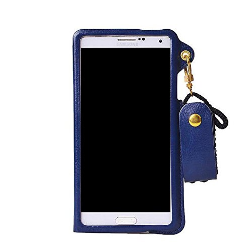Crazy Genie Lanyard Pouch with Card Slot Holder PU Leather Case Cover for the Samsung Galaxy Note 4 (Blue Sapphire)