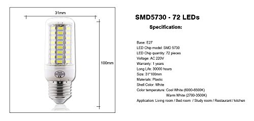 Amazon.com: 10pcs E27 LED Lamp 220V SMD 5730 Ampoule Bombillas lamparas Lampada de LED Corn Light Bulb Lighting: Home & Kitchen