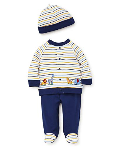 Little Me Baby Boys Cardigan Set, Safari Stripe Medieval Blue/Multi 6 Months