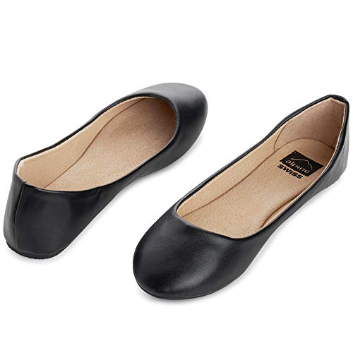 alpine swiss Womens Black Leather Pierina Ballet Flats 6 M US