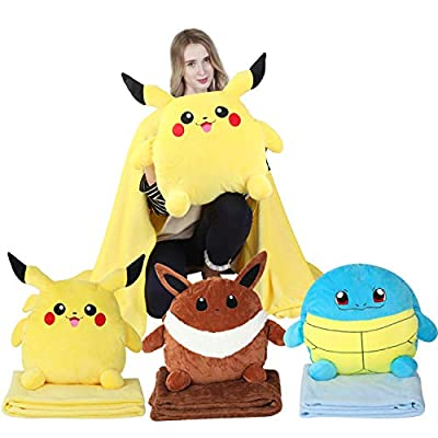 Besttio Pokemon Pillow Pokemon Throw Pillow Package with a Pokemon Pillow and a Throw Blanket with Three Colors and Pikachu, Eevee and Squirtle to Choose from (Pikachu): Home & Kitchen