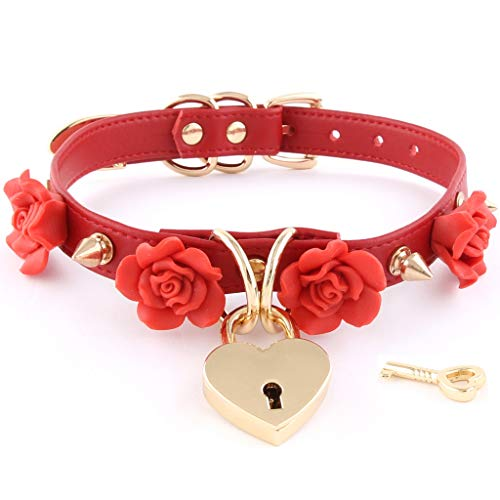 Handmade Clay Flowers Spikes Heart Lock Faux Leather Choker Collar (Red with Gold Alloy) ()