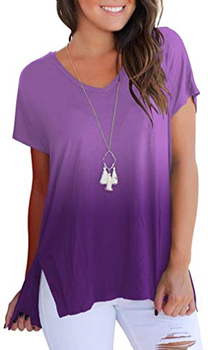 onlypuff Women Short Sleeve Tops Crew Neck High Low Casual Tunic Summer Shirts Purple M