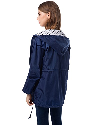 Pluie Romanstii Pliable Manteau Femme Marin Legere Imperméable Longue Capuche Manche Veste Bleu Camper Emballable HrS5qH