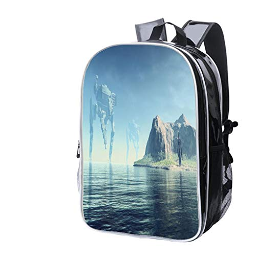High-end Custom Laptop Backpack-Leisure Travel Backpack Giant Robots Attack on exo Planet Mining Outpost Water Resistant-Anti Theft - Durable -Ultralight- Classic-School-Black
