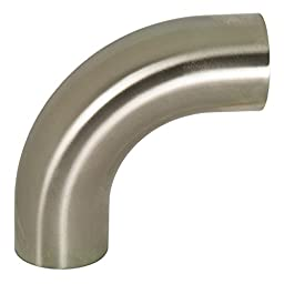 Dixon B2S-G200P Stainless Steel 304 Sanitary Fitting, 90 Degree Polished Weld Long Elbow with Tangent, 2\