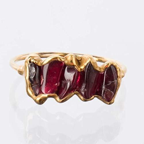Yellow Gold Size 6 Eternity Raw Garnet Ring January Birthstone
