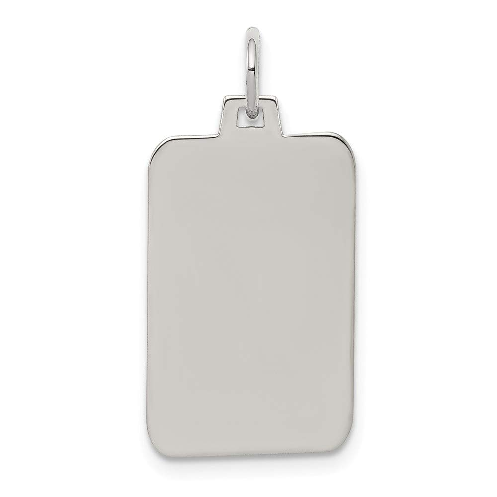 Polish Front//Satin Back Disc Pendant Charm 12mm x 27mm Rect Jewel Tie Sterling Silver Rhod.-plated Eng