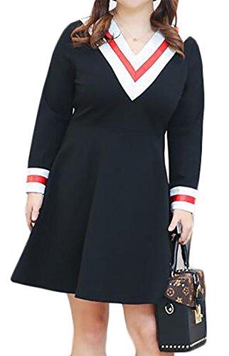 Cromoncent Femmes Taille Plus Épissure Manches Longues Col V Robe D'oscillation De La Longueur Du Genou Noir