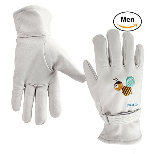 OZERO Leather Work Gloves - Garden Gloves with Colourful Embroidery - Puncture Resistant & Durable for Gardening/Household - Breathable Mesh Fabric Lining, Good Fit for Man/Women/Kids (White, XL)