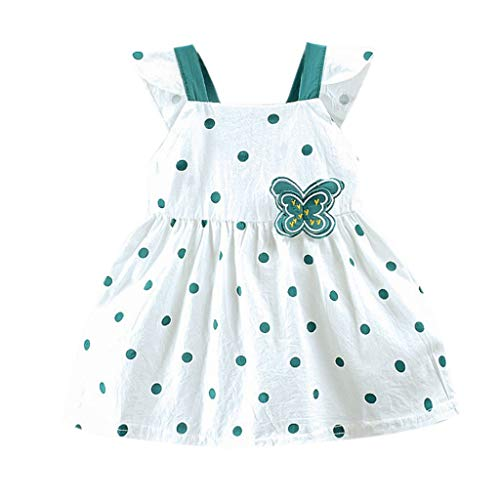 Iuhan Girls Swing Summer Dress for Toddler Kid Baby Girl Dot Printed Butterfly Bow Party Princess Dress Clothing