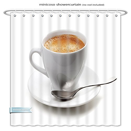 Minicoso ShowerCurtain cappuccino cup with silver spoon isolated on white background Polyester Fabric Bathroom Shower Curtain