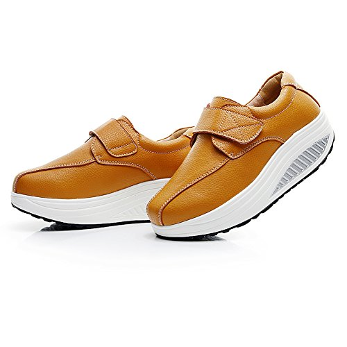 Cómodo Tan Zapatos Cuña Mujer Bucle Zapatillas Plataformas Cuero rismart UHtqW8BW