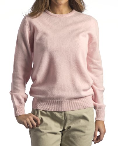 Great and British Knitwear Womens 100% Lambswool Crew Neck Pullover-Pale Pink-Large