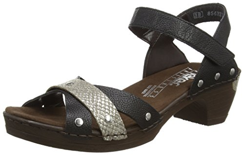 Rieker 66888, Women's Closed Toe Sandals Black (Schwarz/Fango-silver / 00 00)